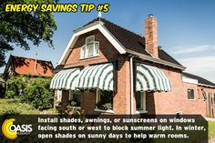 Energy Saving Tips, Save Energy, Energy Providers, Gas Service, Electricity Bill, Sunny Days, Oasis, Outdoor Structures, House Styles