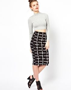 A Wear Midi Check Print Tube Skirt   I want this skirt!