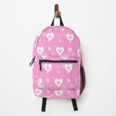 Heart Patterns, Pink White, Fashion Backpack, Clutches, Traveling By Yourself, Print Design, Hearts, Backpacks, Printed