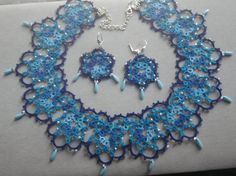 #heirloom #lace Electric blue statement tatted #necklace & by TattingByWendy, $99.00