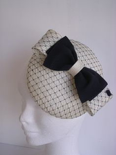 black and white bow hat