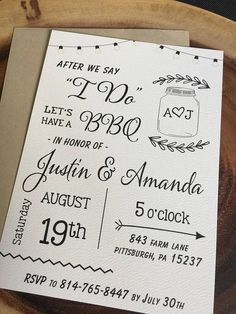 After we say I DO Wedding BBQ Elopement Announcement Post-Wedding Reception invitation Kraft Paper White Felt Paper calligraphy - Invitatioin Card - Ideas of Invitatioin Card - After we say I DO Wedding BBQ Elopement Post Wedding, Wedding Tips, Wedding Planning, Dream Wedding, Elopement Wedding, Elegant Wedding, Wedding Abroad, Paris Wedding, Wedding Rustic