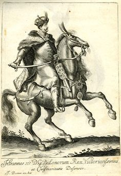 Equestrian portrait of John III Sobieski, King of Poland and Grand Duke of Lithuania, full-length in profile facing right, horse also seen in profile facing right; after Pieter Stevens.  c.1683-1692  Engraving
