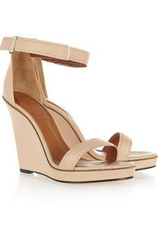 Zip-detailed leather wedge sandals by Givenchy