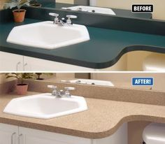 Countertop Refinishing Works Equally Well On Kitchen Countertops Bathroom Vanities Laminate Breakfast Bars And Even Cultured Marble Sink