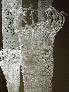 2012 Spring Lights (春の光) Fiber Installation Art by Tezuka Fumie Art Fibres Textiles, Textile Fiber Art, Textile Artists, Sculpture Textile, Sculpture Art, Collage Kunst, Light Spring, Paperclay, Fabric Art