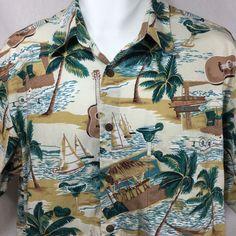 d07188a0f Reyn Spooner Joe Kealoha Hawaiian Aloha Shirt Size L Large Palm Trees Tiki  Bar #ReynSpooner