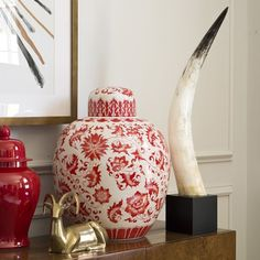 Ginger Jar, Red & White #williamssonoma oh this is so lovely!