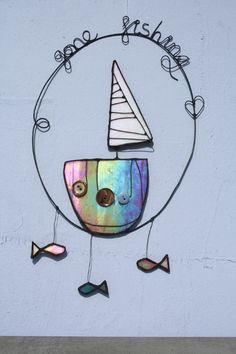 Glass Art by Maria Barber - Button Boats 'Gone Fishing'