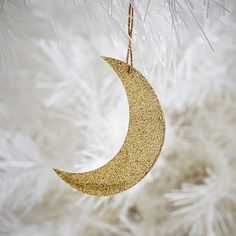 Glitter Kraft Gold Moon Ornament #westelm