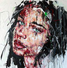 Lucile Callegari / T237 / Acrylique et fusain sur toile, 100x100cm, 2015.