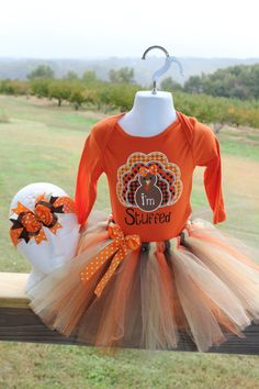 First 1st Thanksgiving I'm Stuffed Turkey body suit onesie tutu dress with bow 12 months