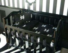 goth black skull crib