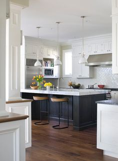 """Beautiful.  I think the island is black, or a """"cooler"""" color.  If we go with the walnut floors, maybe the island wrap should be a cooler dark color, with more grey and less red tones?"""
