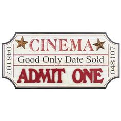 """Let old-fashioned cinematic style inspire your media room, game room or man cave décor! This Cream & Red Cinema Ticket-Shaped Wall Decor features a beveled MDF plaque with a unique ticket shape.    Black edges add depth and dimension, a distressed cream-colored face lightens things up, and raised rusty stars and red letters spelling """"Admit One"""" increase the visual appeal even more! Grab your popcorn and soda and get ready for the picture!        Dimensions:   ..."""