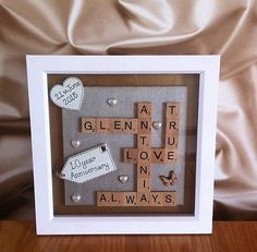 ♥♥BOXED FRAME SCRABBLE LETTERS FAMILY WEDDING ANNIVERSARY ENGAGEMENT GIFT