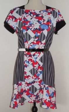 Peter Pilotto Target Red White Blue Belted Dress 4 Lined 4th of July High Low #PeterPilotto #AsymmetricalHem #WeartoWork