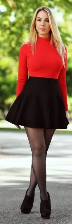 Red High Neck Sweater by Chic Fashion World