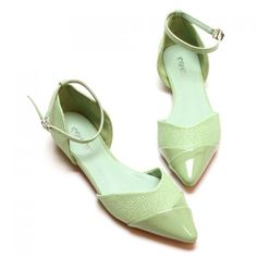Stylish Splicing and Pointed Toe Design Flat Shoes For Women, GREEN, 35 in Flats | DressLily.com