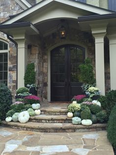 Autumn Entryway with purple white and pink mums; white pumpkins and grey gourds. Autumn Entryway with purple white and pink mums; white pumpkins and grey gourds. White Pumpkin Decor, White Pumpkins, Autumn Decorating, Porch Decorating, Fall Home Decor, Autumn Home, Purple Mums, Fall Mums, Fall Containers