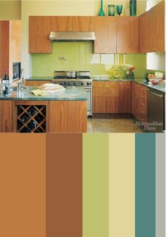 Metropolitan Home showcases a modern kitchen with an analogous color scheme combining warm and cool hues to add vibrancy and energy.