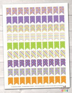 Purple Orange Green Flags Printable Planner Stickers – Instant Download PDF for your Erin Condren Life Planner