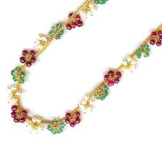 Jpearls Designer Gold Chain With Pearls, Rubies and Emeralds