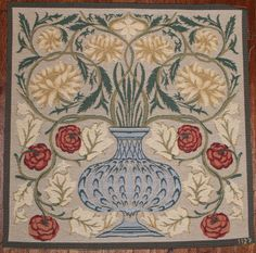William Morris Tapestry The Rose Bowl 19x19 by WovenInTyme on Etsy