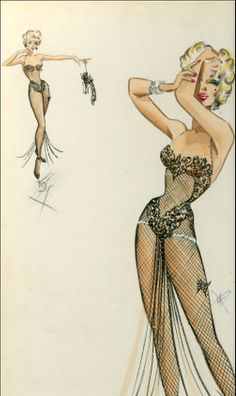 Travilla costume design for Marilyn Monroe in The Stripper. Ultimately she did not participate in the film and it was later made in 1963 starring Joanne Woodward.