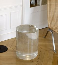 Side Table Bing One by Martin Szekely, 2006 — Made of molten crystal poured into a mold, that has to cool for three months before it can be opened. SO NEAT!