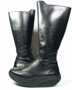MBT Womens Boots 5.5 Tall BLACK LEATHER BOOTS TONING BOOTS *EXCELLENT* SZ 5.5 #MBT #PlatformsWedges
