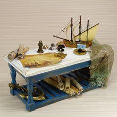 Dollhouse Miniature Table Nautical Boat Old Maps Blue Furniture Scale 1:12th