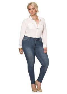 Average Medium Wash Five Pocket Skinny Jean From The Plus Size Fashion Community At www.VintageAndCurvy.com