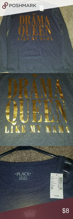 Children's place nwt sz14 ls t-shirt, drama queen! Girls size 14 nwt children's place graphic ls t-shirt. My daughter has too many clothes she refuses to wear! Will ship within 24 hours during regular post office hours. The Children's Place Shirts & Tops Tees - Long Sleeve