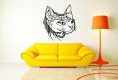Wall Vinyl Sticker Decals Mural Room Design Decor Art Egypt Cat Head Pet Animal bo2321 by RoomDecalsAndDesigns on Etsy