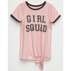 H.I.P. Girl Squad Knot Front Girls Ringer Tee ($18) ❤ liked on Polyvore featuring tops, t-shirts, knot front tee, pink graphic tee, crew t shirts, knot front top and graphic tees