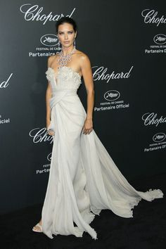 Adriana Lima In Elie Saab and Chopard Jewels At Cannes Film Festival 2014