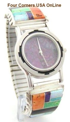 Four Corners USA Online - Men's Inlay Sterling Watch Shown with Purple Mohave Turquoise Face Native American Jewelry Arnold Yazzie, $189.00 (http://stores.fourcornersusaonline.com/mens-inlay-sterling-watch-shown-with-purple-mohave-turquoise-face-native-american-jewelry-arnold-yazzie/)