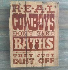 Cowboys Don't Take Baths  Western Bathroom by OnALimbCreations