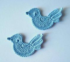 crochet birds | Crochet Blue Birds Applique Baby Boy by GoldenLucyCrafts on Etsy
