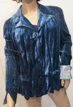 Crush Velvet Ocean Aqua Blue Blazer Jacket. by MISSVINTAGE5000