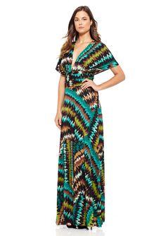 TRANSFORMER BY VON VONNI Teal Fontana Print Long Transformer Dress