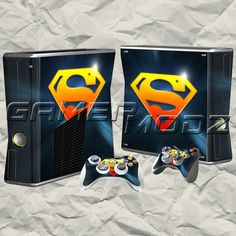 Superman XBOX 360 Skin Set - Console with 2 Controllers BTW...for the best game cheats, tips,DL, check out: http://cheating-games.imobileappsys.com/