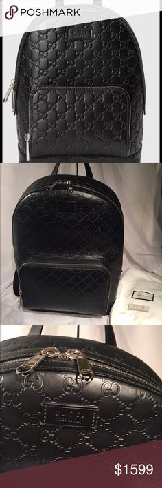 """Gucci Black Leather Guccissima Backpack GG Bag Mint condition, purchased at London Gucci in 2016, still on Gucci website:  A classic backpack shape, featuring a front zip pocket, debossed Gucci Signature with black leather trims, trademark leather tag detail, Black mesh back, Grey microfiber lining Leather handle, Black nylon padded and adjustable shoulder straps, Front zipper pocket, Interior smartphone pockets, Interior padded sleeve for tablet; pocket 9.5""""W x 10.5""""L Zipper closure 12.5""""W…"""