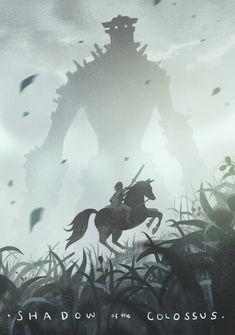 Shadow of the Colossus Poster Trash Art, Web Design, Movie Poster Art, Environmental Art, Video Game Art, Creature Design, Legend Of Zelda, Wallpaper, Fantasy Art