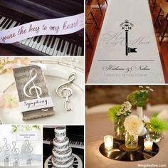 A music inspired wedding theme will encourage guests to dance the night away at your reception.  Piano keys, music notes and vinyl records are ideal decorating elements.