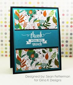 """""""Thank You So Much"""" card made with the following Gina K Designs products:  • The """"Made with Love"""" stamp set from the Made with Love StampTV Kit  • Made with Love 6X6 Patterned Paper Pack  • Gina K Designs Pure Luxury card stock in Black Onyx and the new Blue Lagoon  • Gina K Designs Fine Detail White embossing powder  Check out the entire StampTV Kit in the """"What's New"""" section of the Gina K Designs Store at www.ginakdesigns.com"""