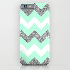 glitter seafoam chevron iphone case