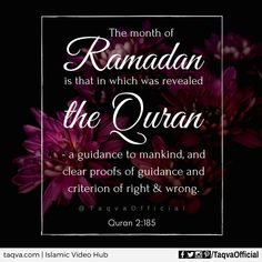 """""""The month of #Ramadan [is that] in which was revealed the Qur'an, a #guidance for the people and clear proofs of guidance and criterion. So whoever sights [the new #moon of] the month, let him #fast it; and whoever is ill or on a journey - then an equal number of other days. #Allah intends for you ease and does not intend for you #hardship and [wants] for you to complete the period and to #glorify Allah for that [to] which He has guided you; and perhaps you will be #grateful."""" #Quran 2:185…"""