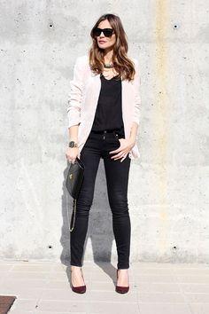 pantalon en negro & blazer crema - beige de Lady Addict